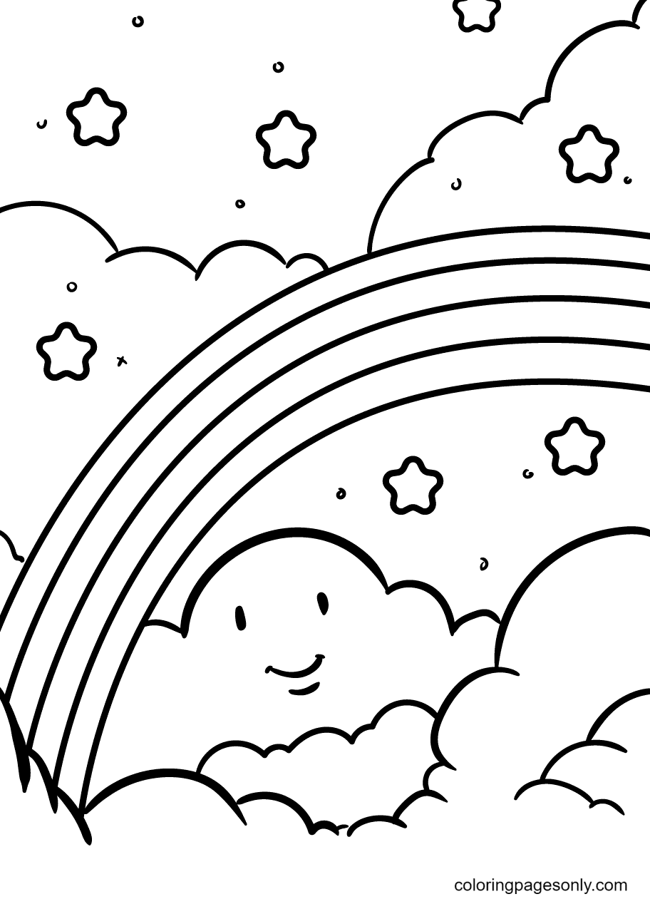 Rainbow Shines Coloring Page