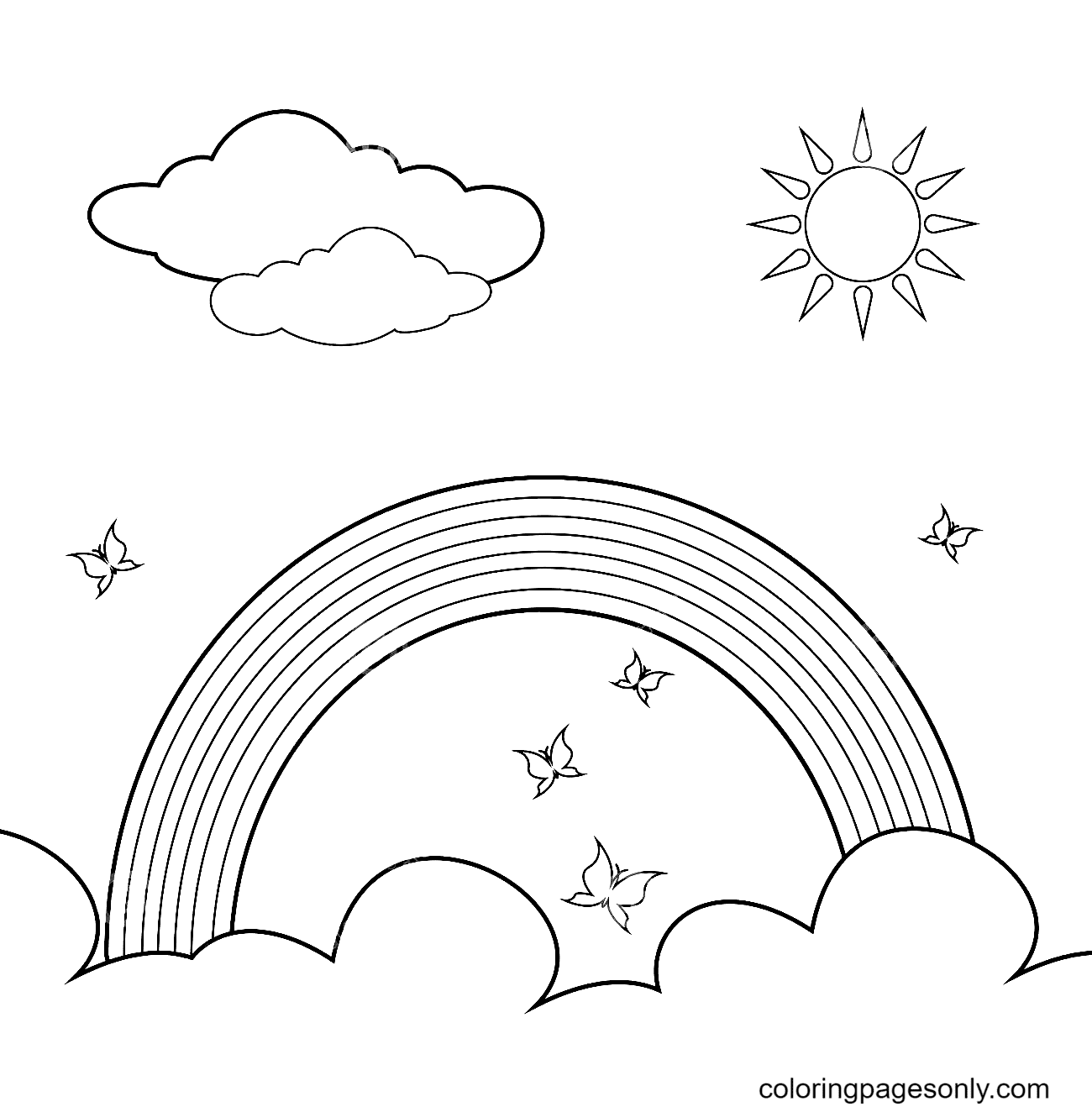 Rainbow, Sun, Clouds and Butterflies Coloring Page