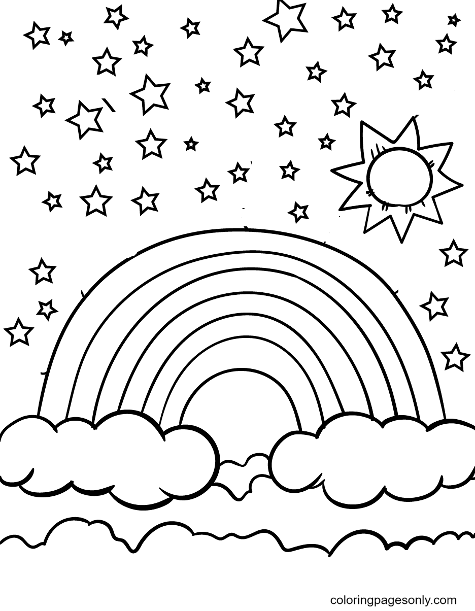 Rainbow, The Sun and Stars Coloring Page