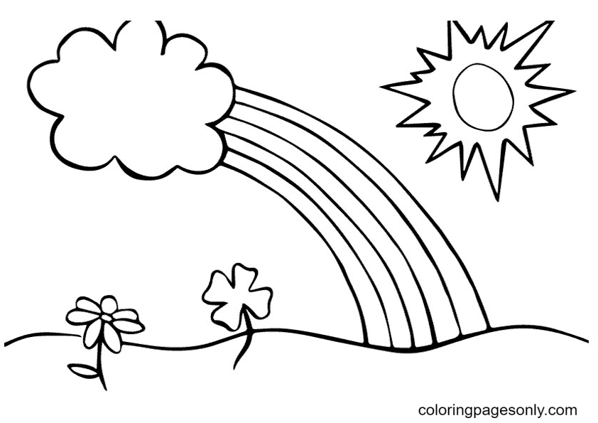 Rainbow With A Sun Coloring Page