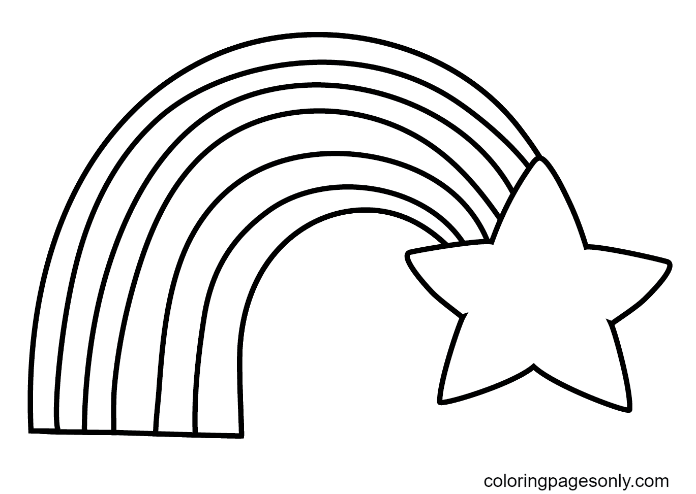 Rainbow With Star Coloring Page