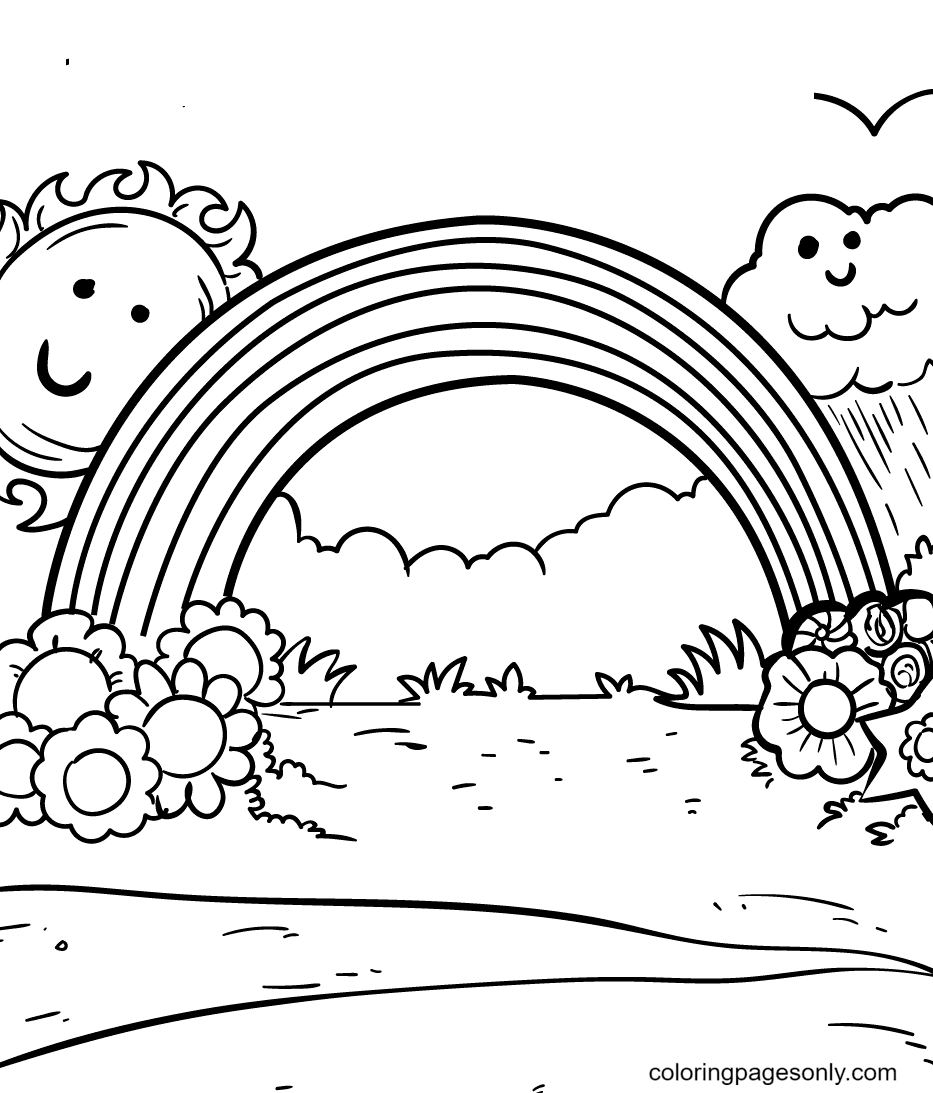Rainbow With the Sun and Cloud Coloring Page