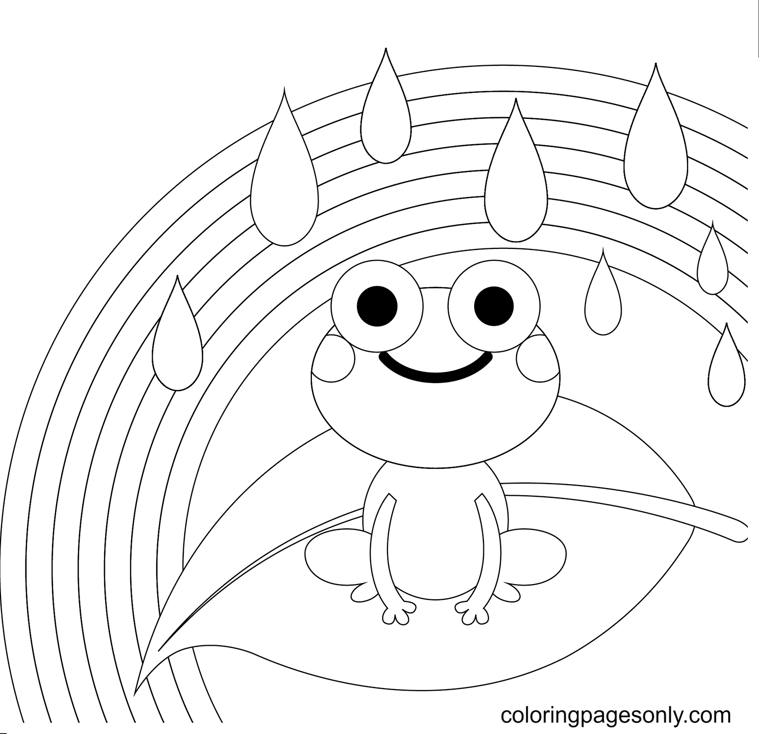 Rainbow and Frog Coloring Page