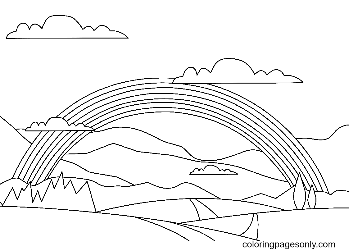 Rainbow with Magnificent landscape Coloring Page