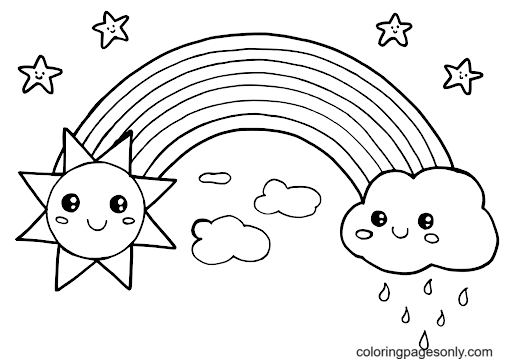 Rainbow with Sun and Clouds Coloring Page