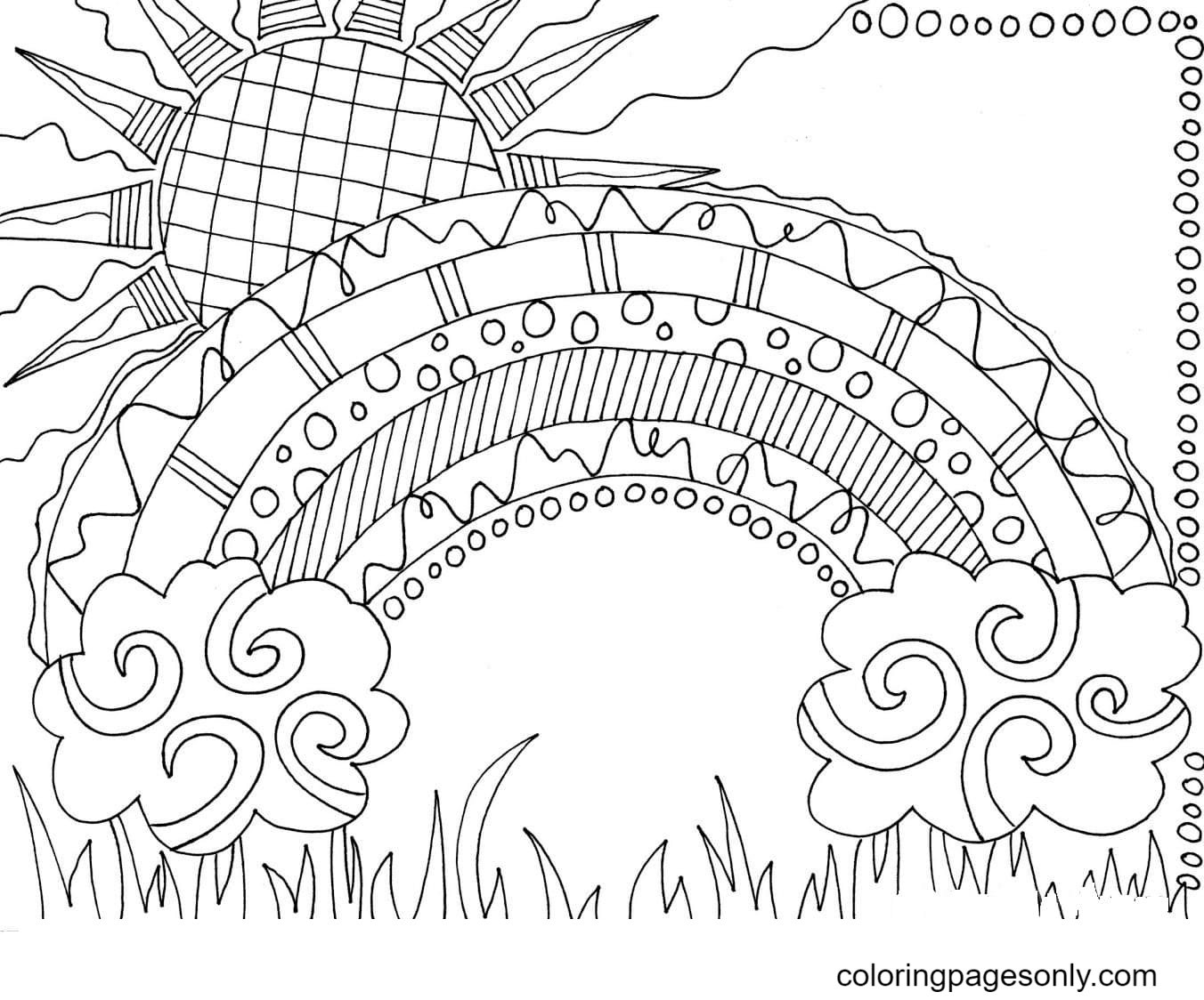 Rainbow with patterns Coloring Page