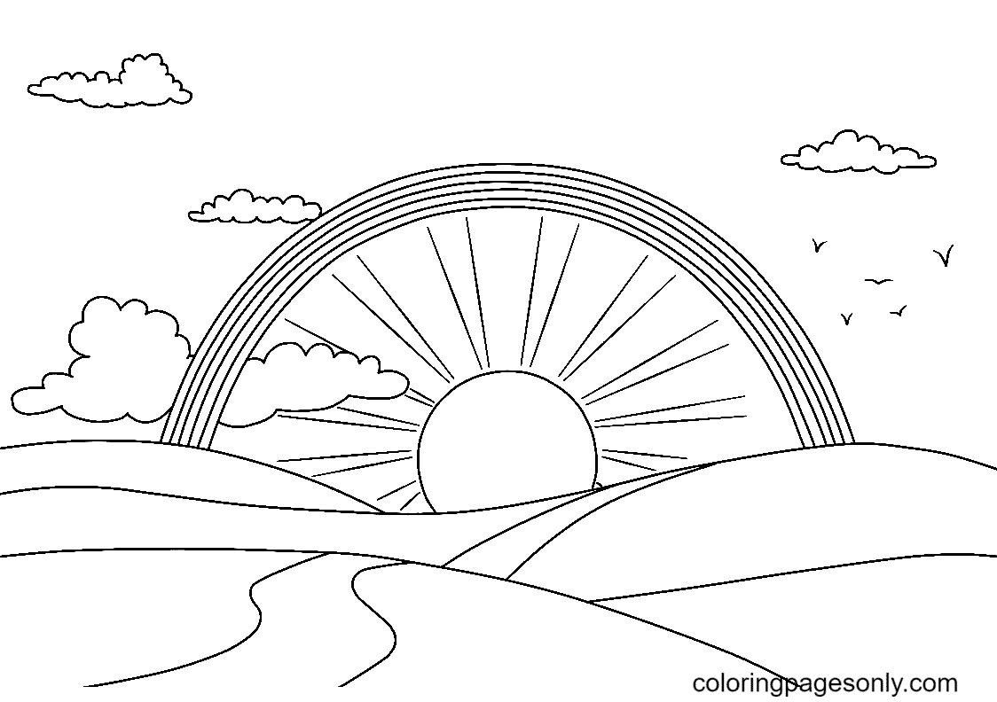 Rainbows, Sun, Paths and Clouds Coloring Page