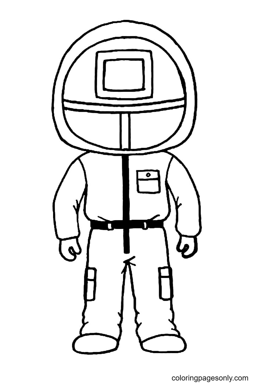 Red Guard Uniform Chibi Coloring Page