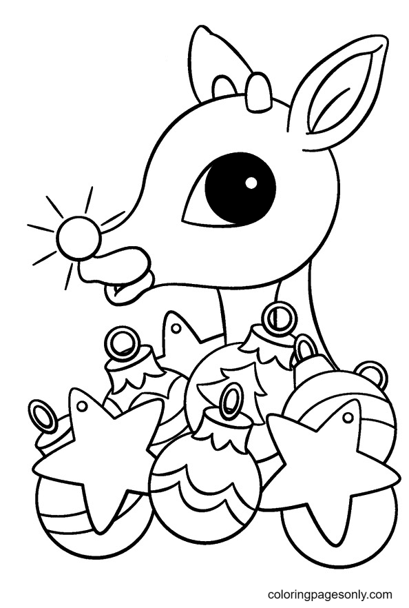 Red Nose Reindeer with Christmas Decorations Coloring Page