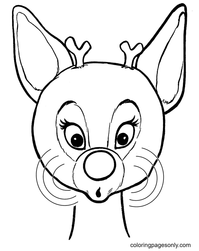 Red Nosed Reindeer Cute Coloring Page