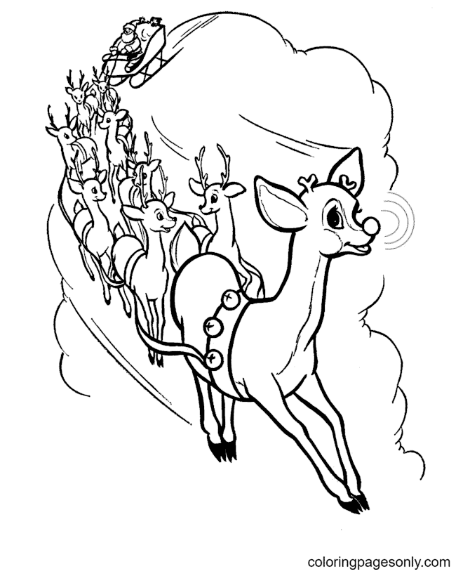 Reindeer And Sleigh Coloring Page