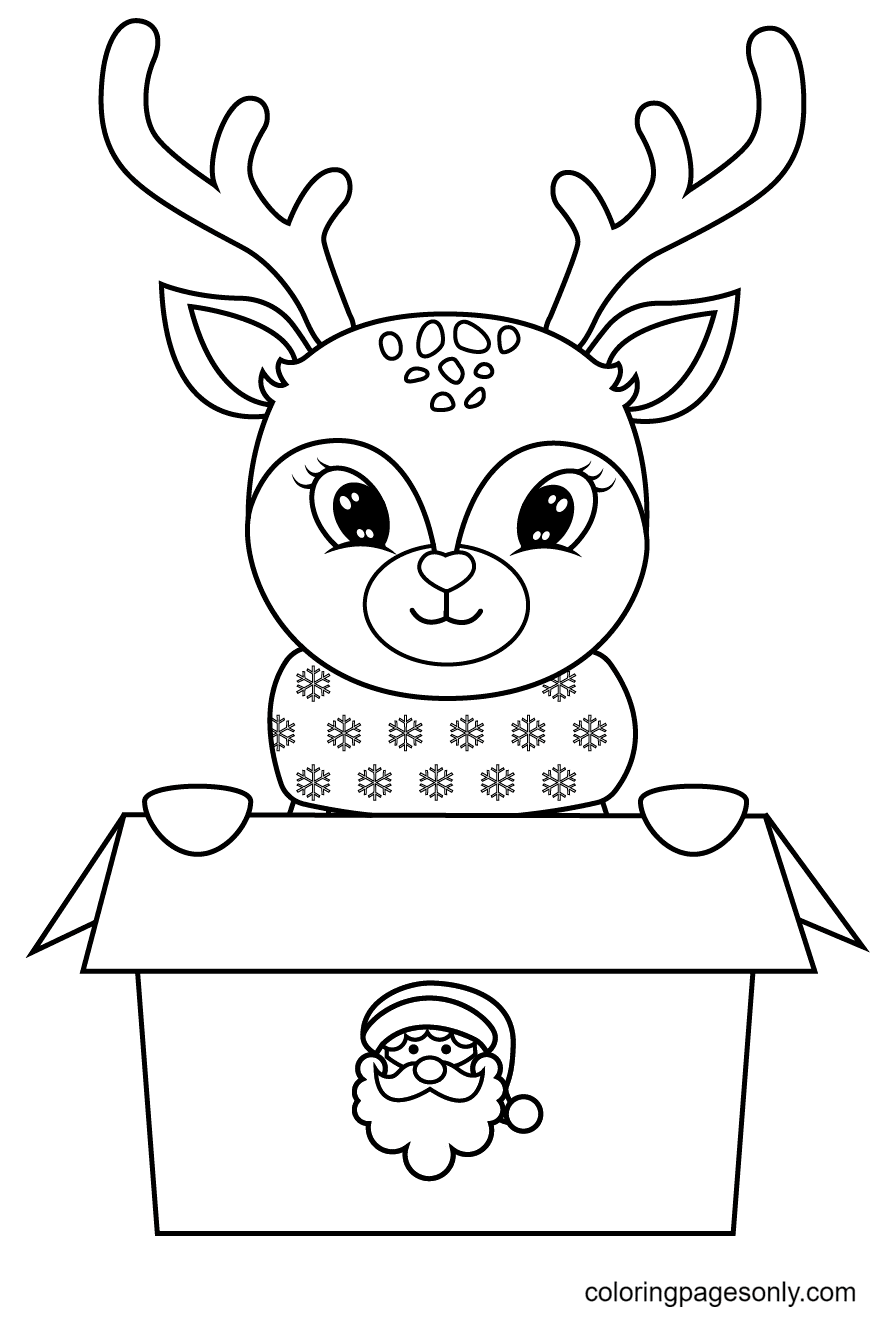 Reindeer Come Out of Santa's Gift Box Coloring Page