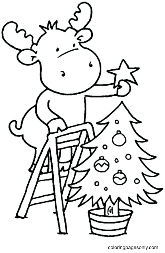 Reindeer Decorating Christmas Tree Coloring Page