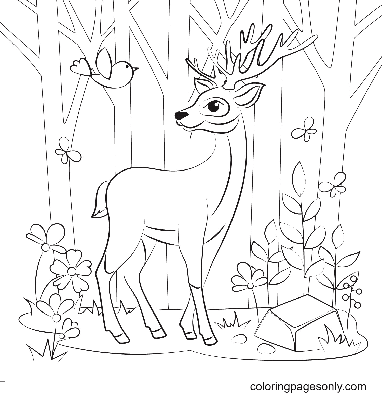 Reindeer In the Forest Coloring Page