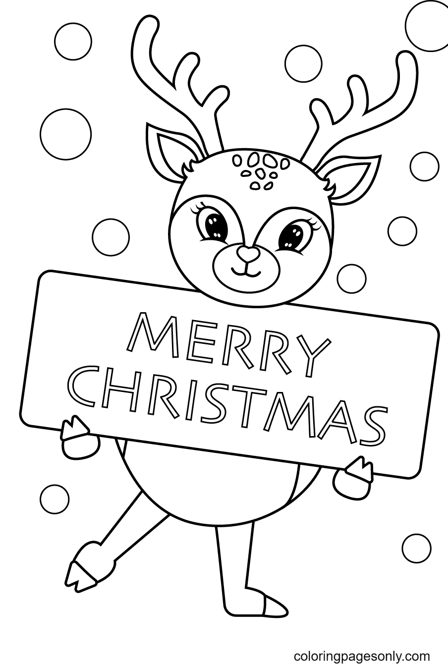 Reindeer Merry Christmas Coloring Page