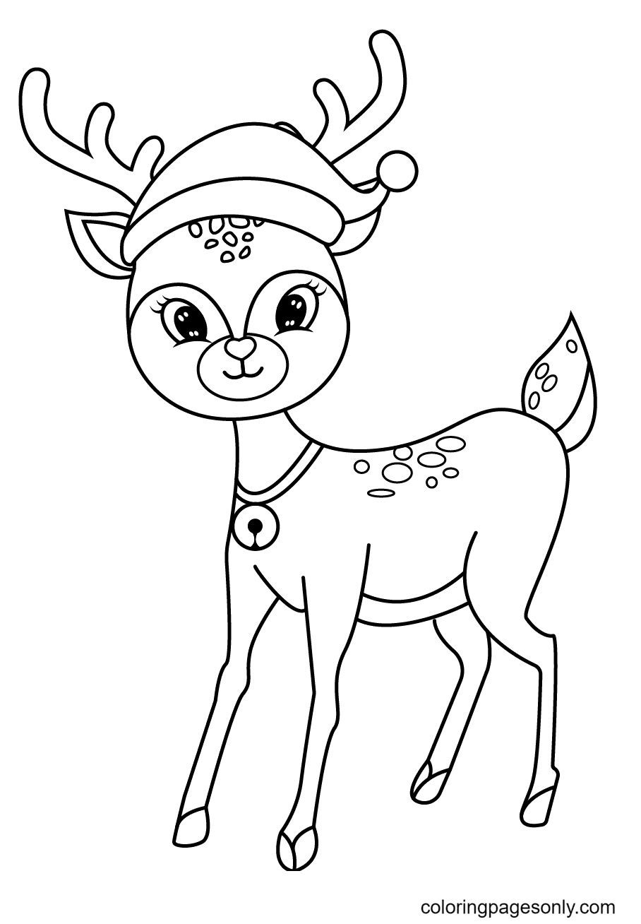 Reindeer Wearing a Christmas Hat Coloring Page