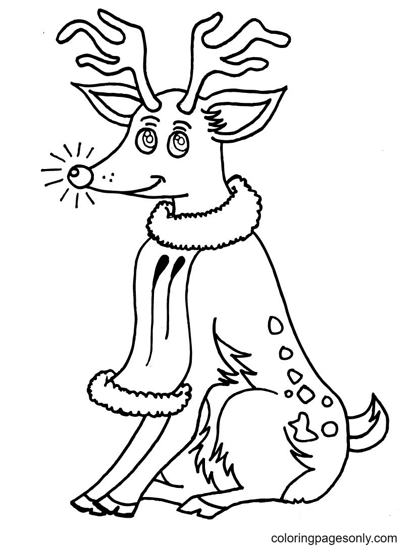 Reindeer With Beautiful Eyes Coloring Page