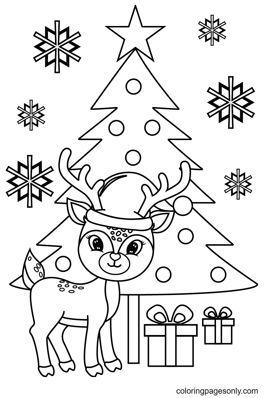 Reindeer With Christmas Tree and Gift Boxes Coloring Page