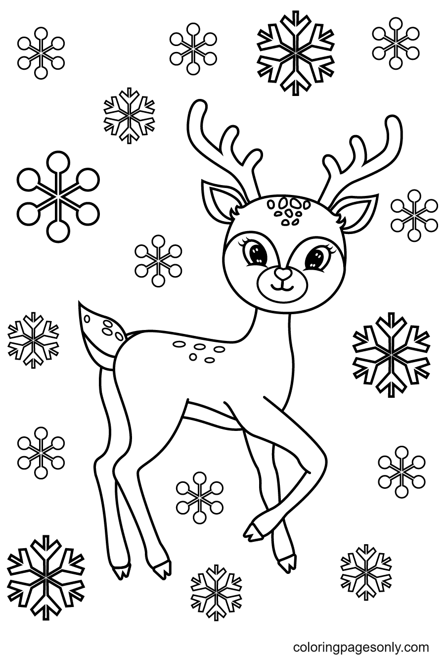 Reindeer With Snowflakes Coloring Page