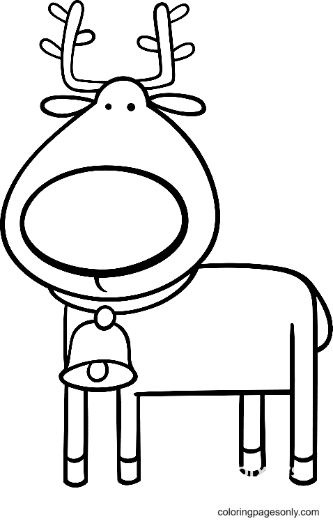 Reindeer With a Bell on Neck Coloring Page