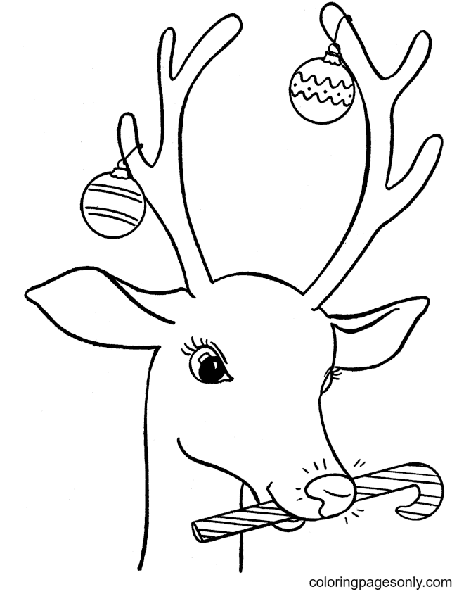 Reindeer with Christmas Decorations Coloring Page