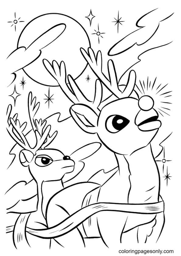 Reindeers in Flight Coloring Page