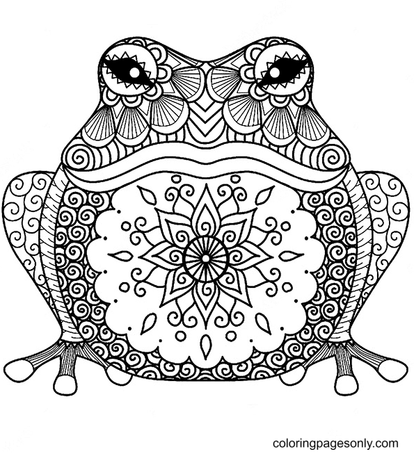 Relaxing Frog Coloring Page