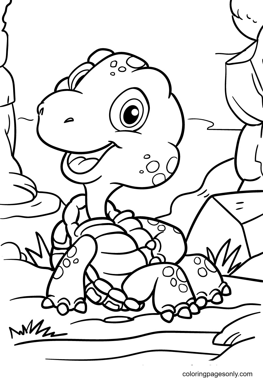 Relaxing Turtle Coloring Page