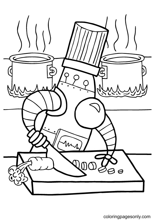 Robot Cooking Coloring Page