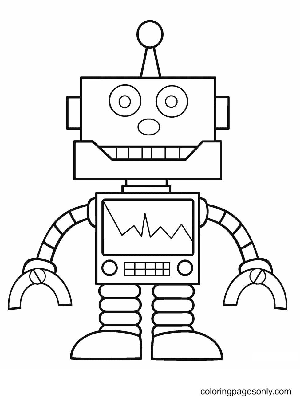 Robot Preschoolers Coloring Page