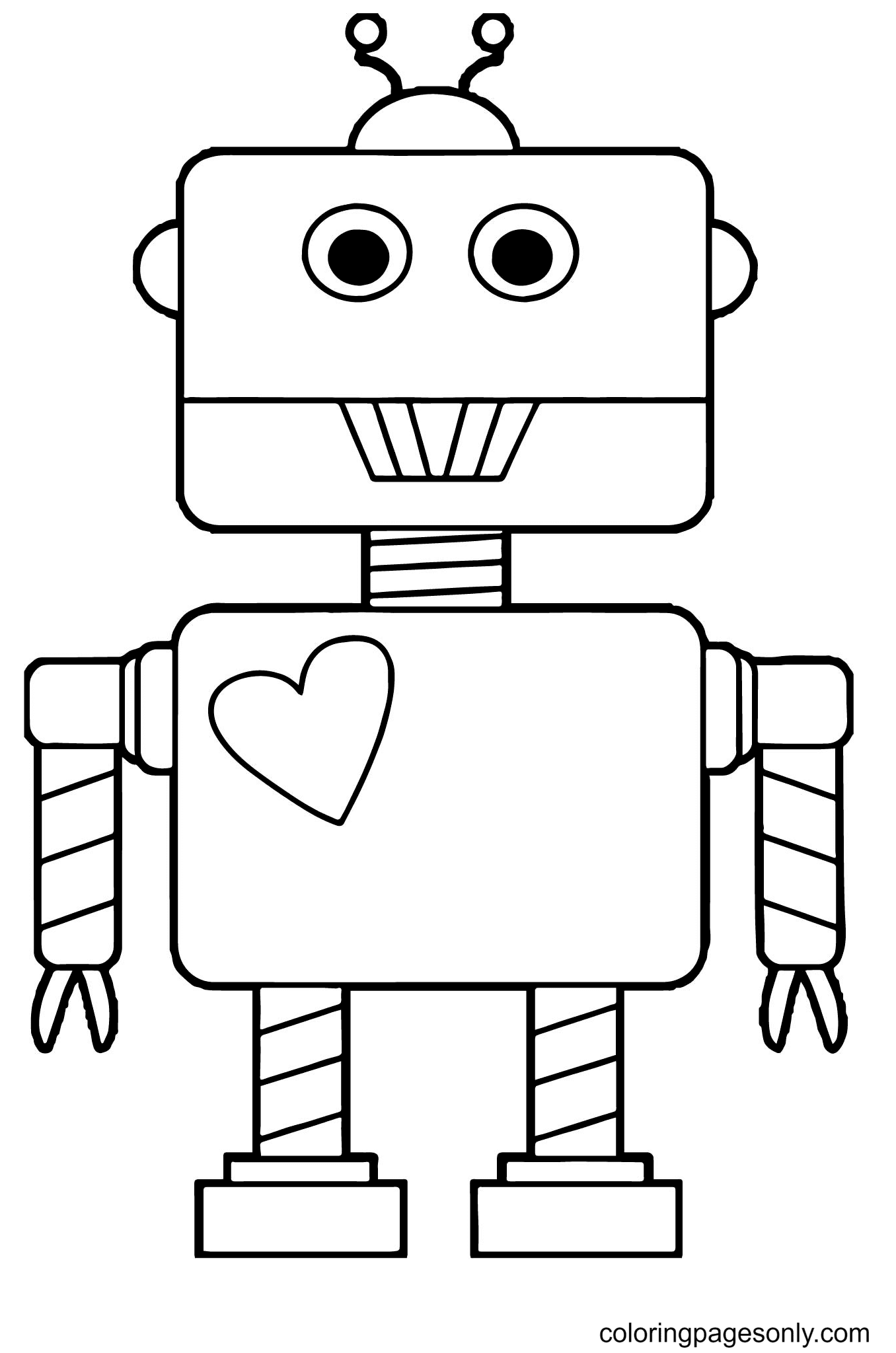 Robot With Heart Coloring Page