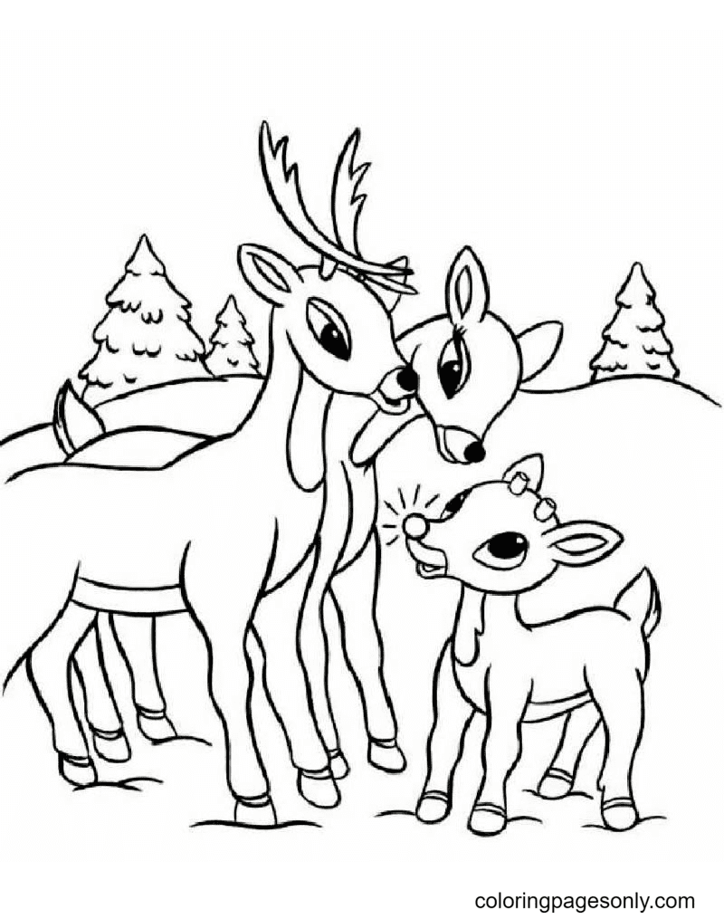 Rudolph Reindeer with Family Coloring Page