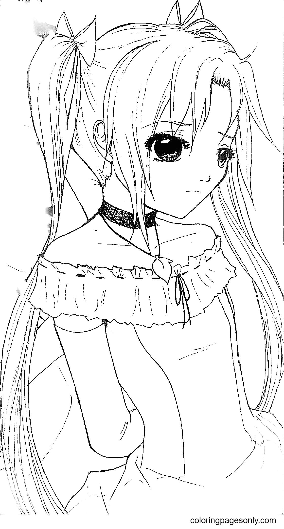 Sad Anime Girl Coloring Page