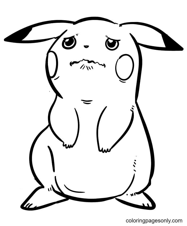 Sad Pikachu Coloring Page
