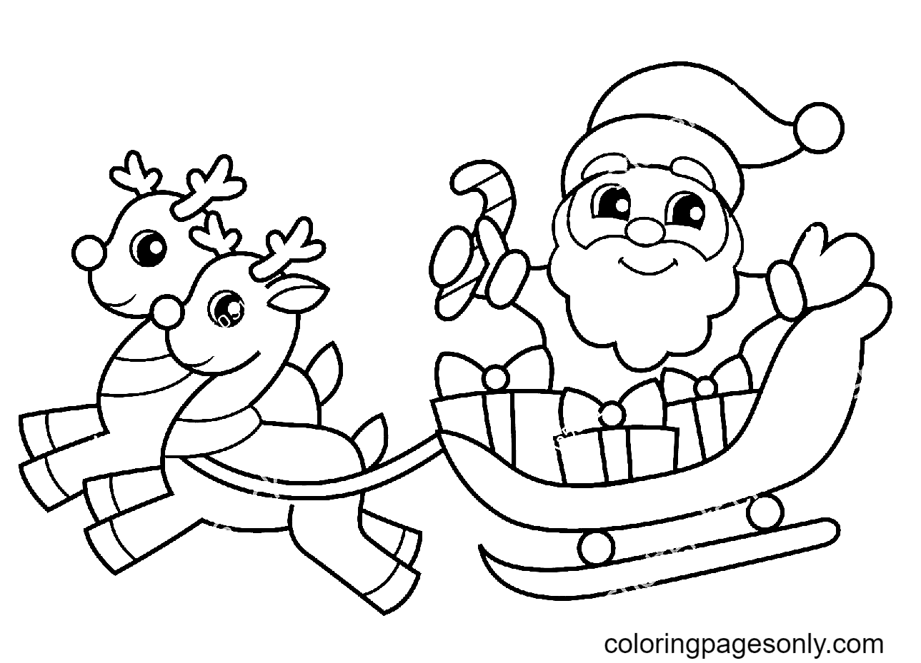 Santa Claus Flying on a Sleigh with Presents and Reindeer Coloring Page