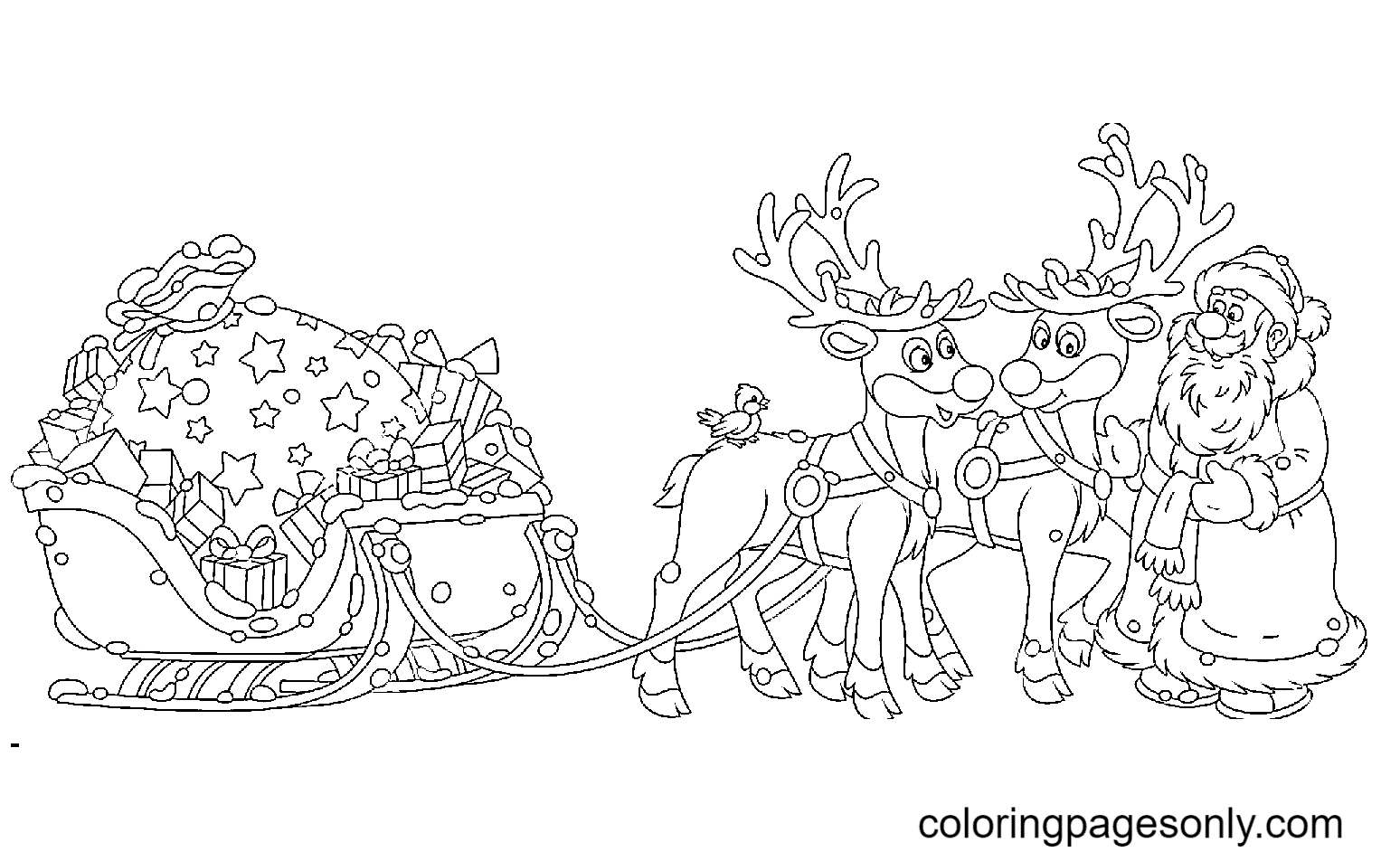 Santa Claus with Reindeer, Sleigh and Big Bag Of Gifts Coloring Page