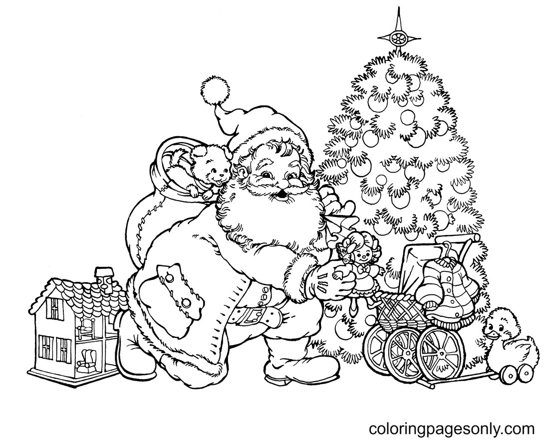 Santa Putting Toys Under Christmas Tree Coloring Page