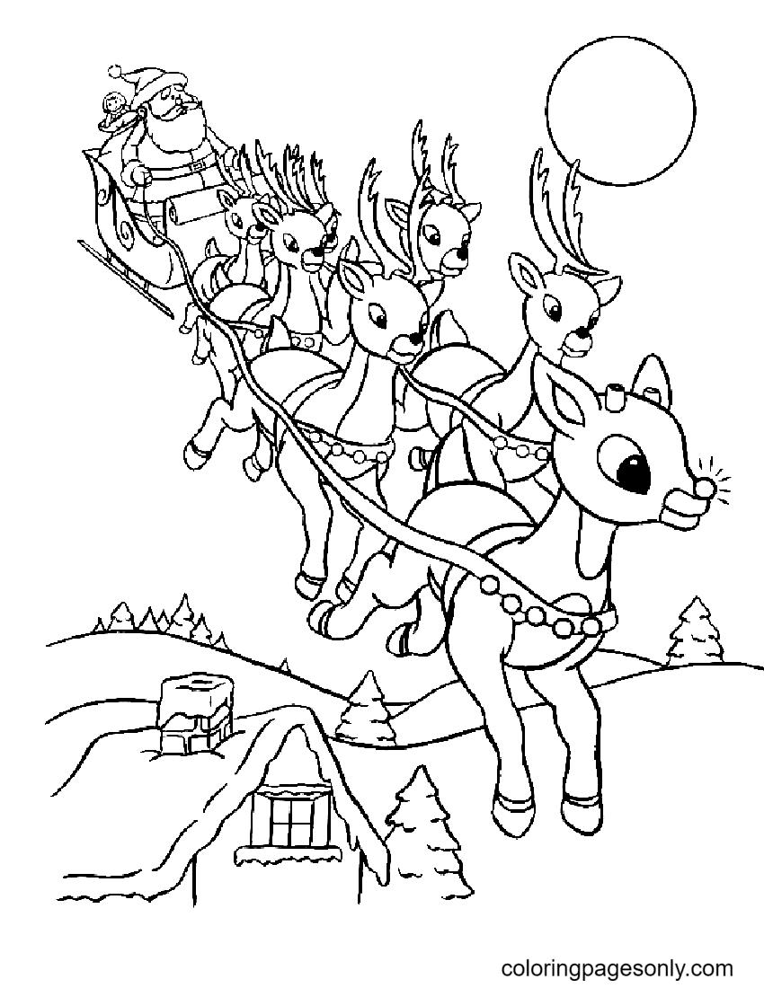 Santa Reindeer Sleigh Coloring Page