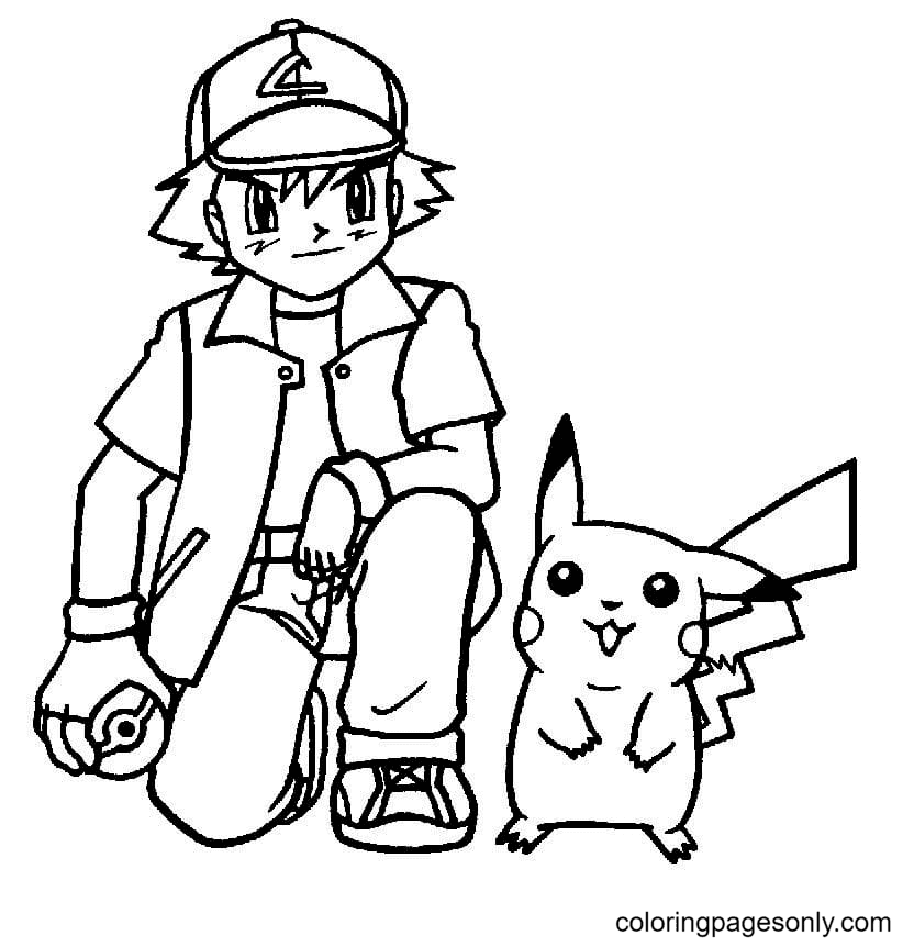 Satoshi and Pikachu Coloring Page