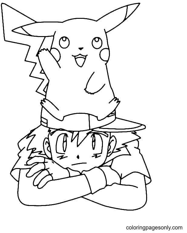 Satoshi with Pikachu Coloring Page