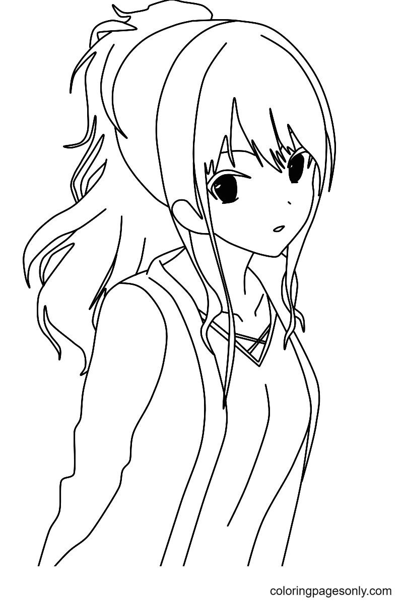 Shy Anime Girl Coloring Page