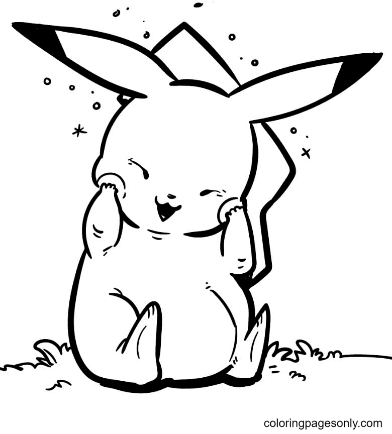 Shy Pikachu Coloring Page