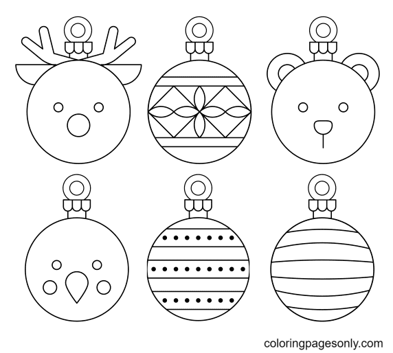 Six Christmas Ornaments Coloring Page