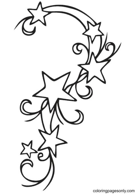 Six Swirled Stars Coloring Page