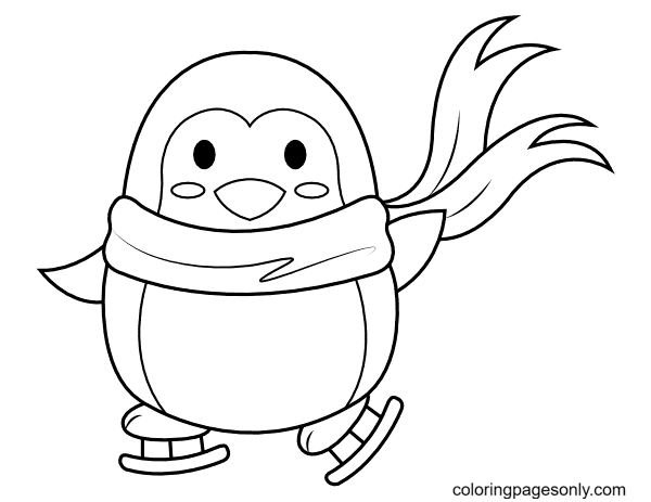 Skating Penguin Coloring Page
