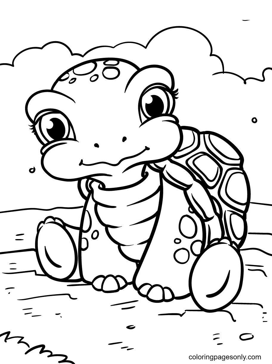 Sleepy Cute Turtle Coloring Page