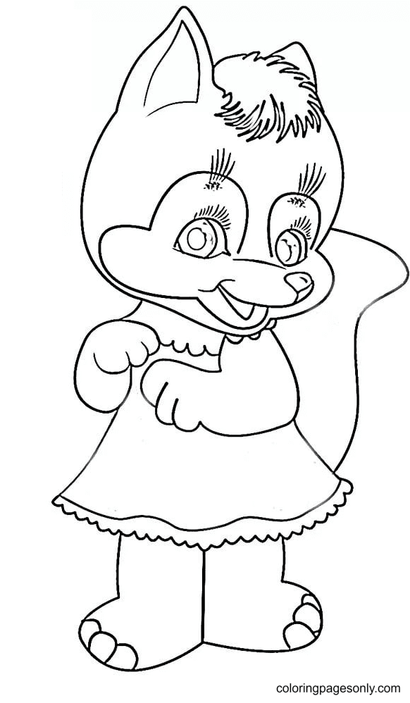 Smiling Cute Fox Coloring Page