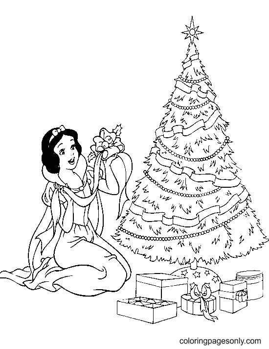 Snow White with Christmas Tree Coloring Page