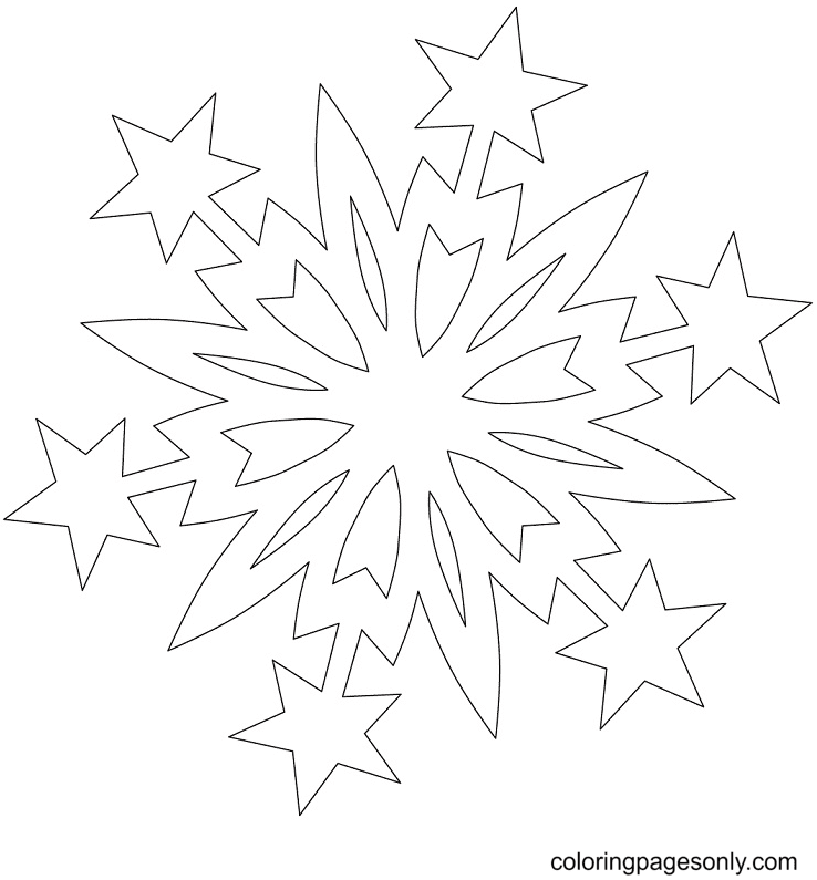 Snowflake with Christmas Stars Coloring Page