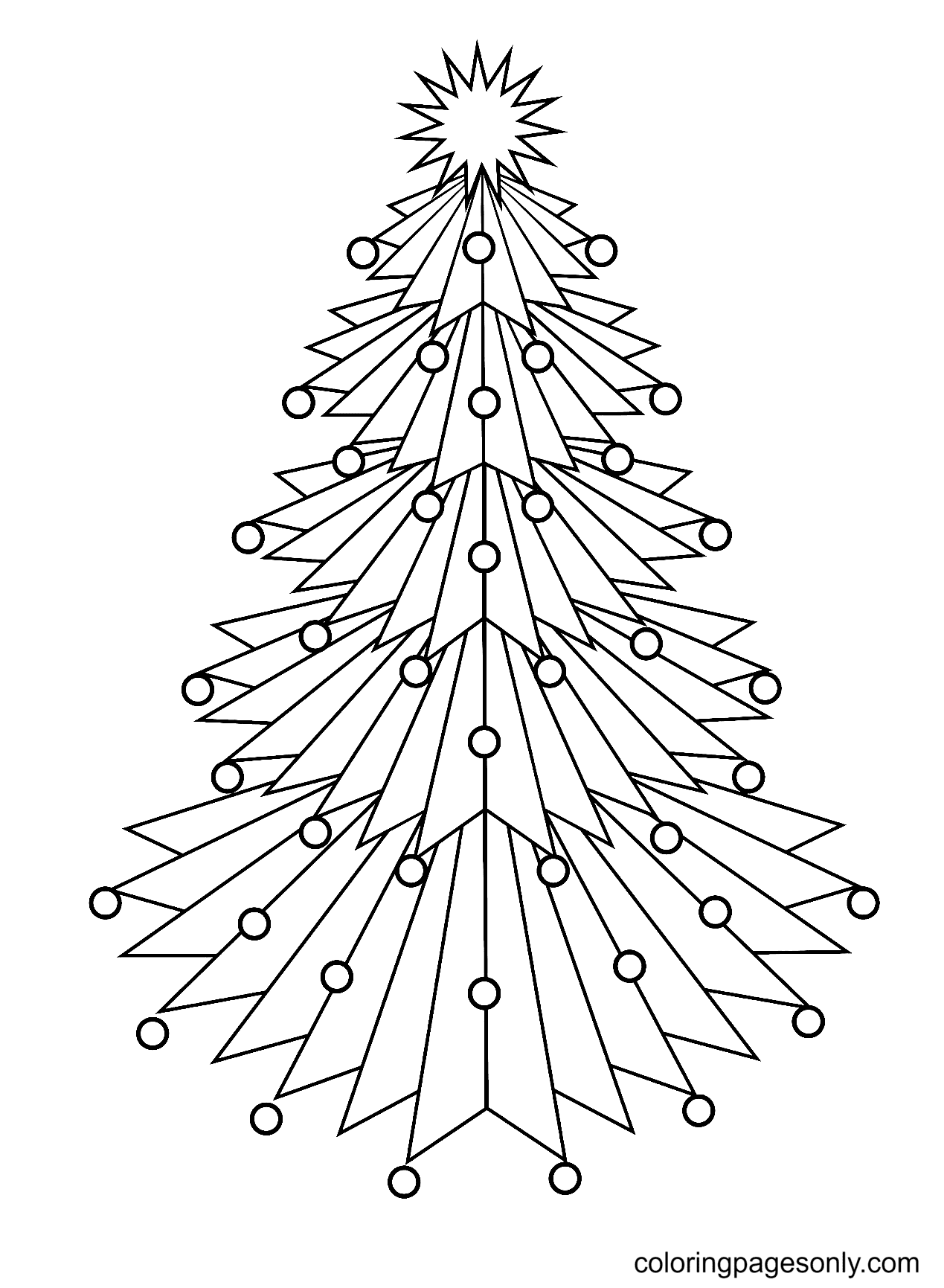Spiky Angled Christmas Tree Coloring Page